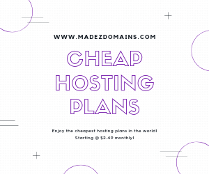 Enjoy the cheapest hosting plans in the world! Starting @ $2.49 monthly!